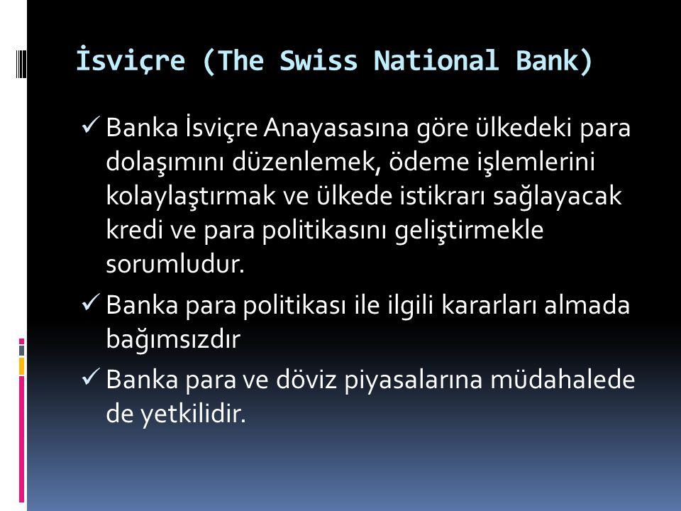 İsviçre (The Swiss National Bank)  Banka İsviçre Anayasasına göre ülkedeki para dolaşımını düzenlemek, ödeme işlemlerini kolaylaştırmak ve ülkede ist