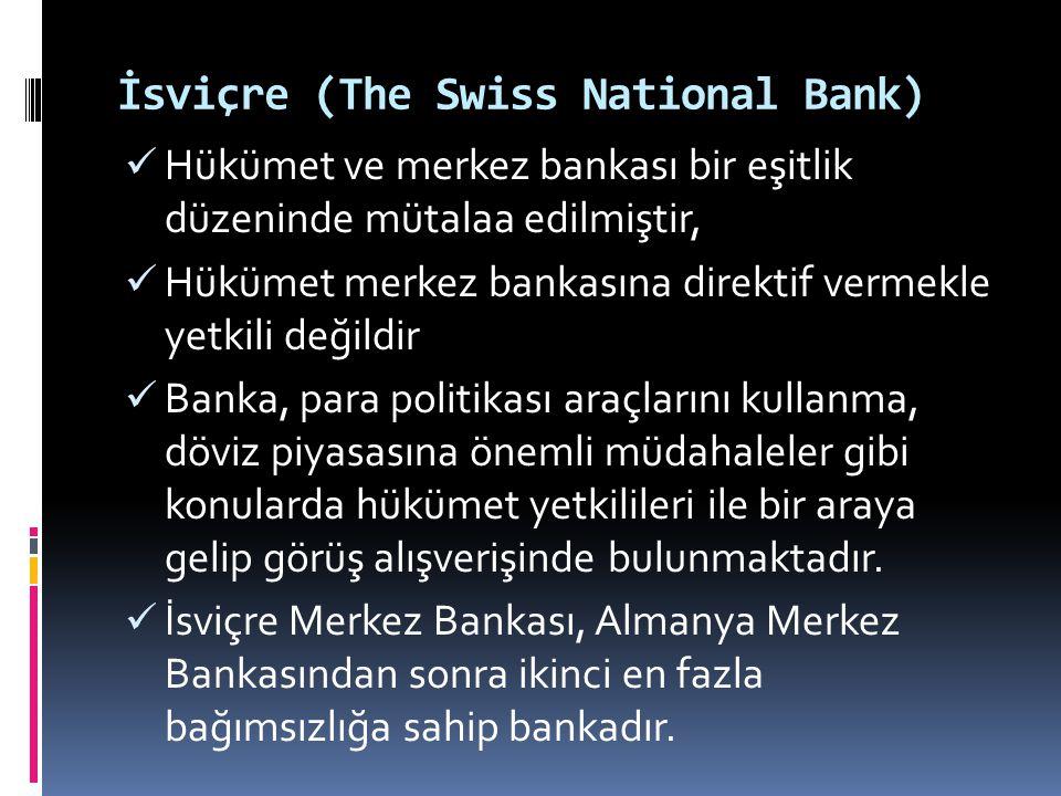 İsviçre (The Swiss National Bank)  Hükümet ve merkez bankası bir eşitlik düzeninde mütalaa edilmiştir,  Hükümet merkez bankasına direktif vermekle y