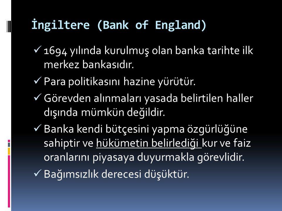 İngiltere (Bank of England)  1694 yılında kurulmuş olan banka tarihte ilk merkez bankasıdır.  Para politikasını hazine yürütür.  Görevden alınmalar