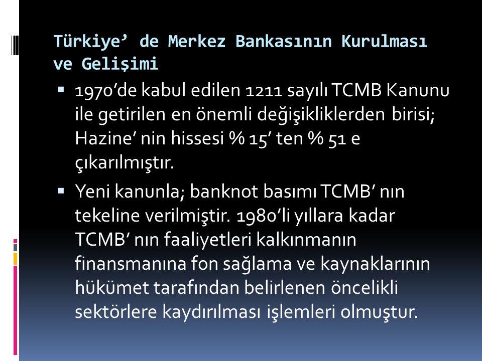 Türkiye' de Merkez Bankasının Kurulması ve Gelişimi  1970'de kabul edilen 1211 sayılı TCMB Kanunu ile getirilen en önemli değişikliklerden birisi; Ha