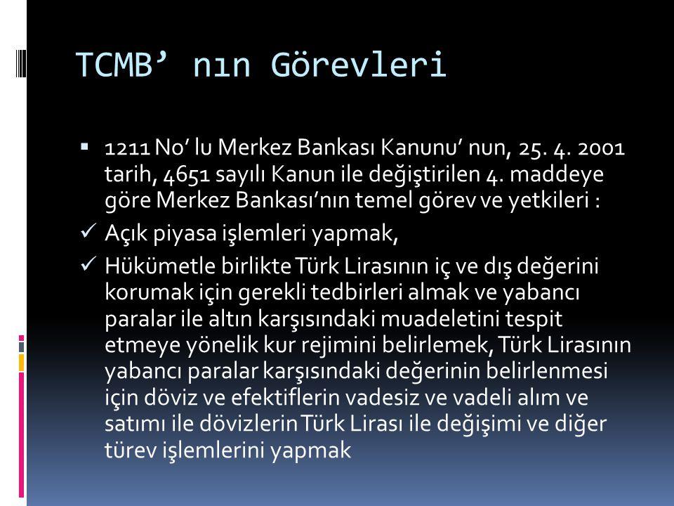 TCMB' nın Görevleri  1211 No' lu Merkez Bankası Kanunu' nun, 25. 4. 2001 tarih, 4651 sayılı Kanun ile değiştirilen 4. maddeye göre Merkez Bankası'nın
