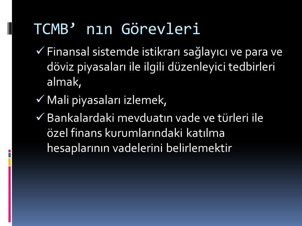 TCMB' nın Görevleri  Finansal sistemde istikrarı sağlayıcı ve para ve döviz piyasaları ile ilgili düzenleyici tedbirleri almak,  Mali piyasaları izl