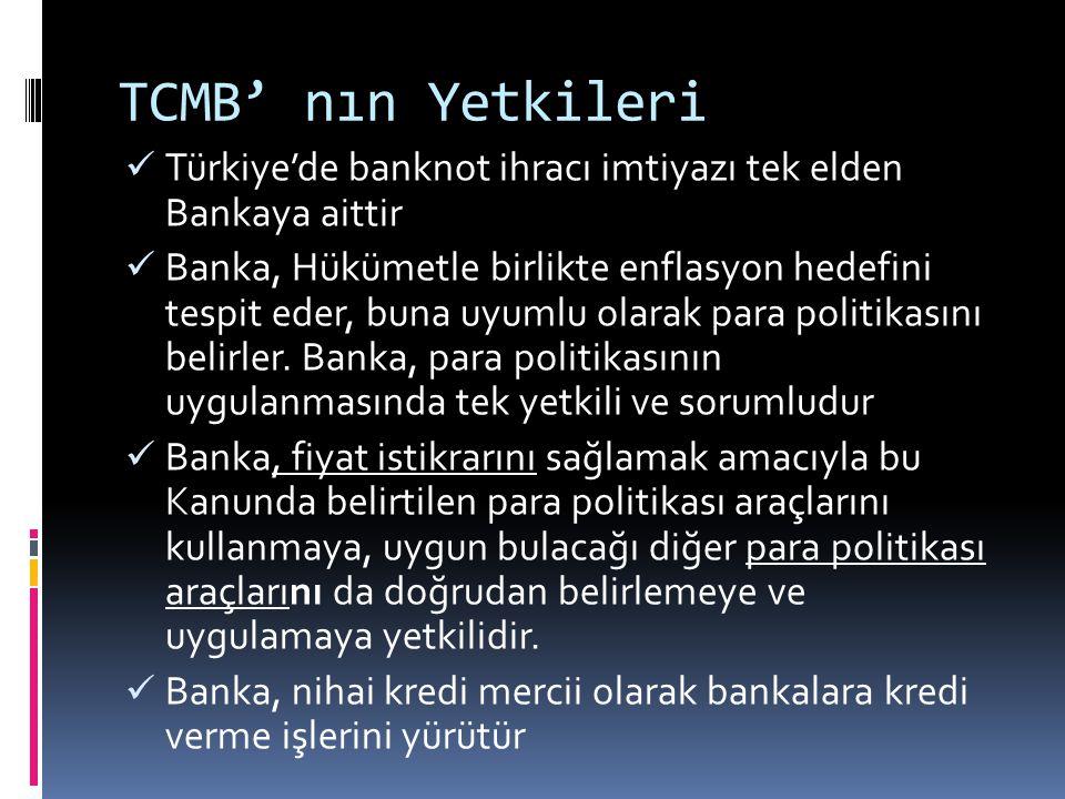 TCMB' nın Yetkileri  Türkiye'de banknot ihracı imtiyazı tek elden Bankaya aittir  Banka, Hükümetle birlikte enflasyon hedefini tespit eder, buna uyu