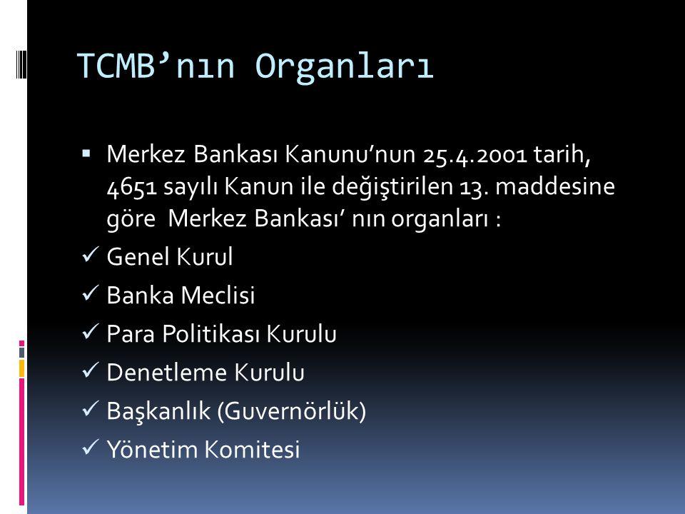 TCMB'nın Organları  Merkez Bankası Kanunu'nun 25.4.2001 tarih, 4651 sayılı Kanun ile değiştirilen 13. maddesine göre Merkez Bankası' nın organları :