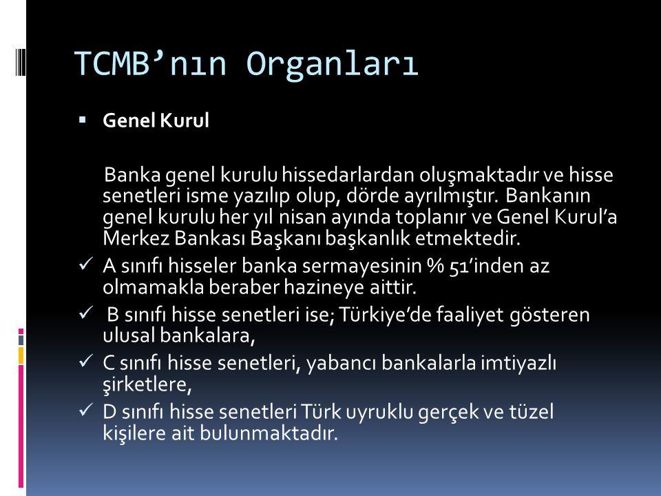 TCMB'nın Organları  Genel Kurul Banka genel kurulu hissedarlardan oluşmaktadır ve hisse senetleri isme yazılıp olup, dörde ayrılmıştır. Bankanın gene