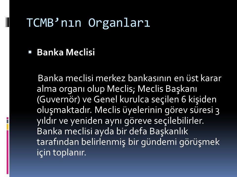 TCMB'nın Organları  Banka Meclisi Banka meclisi merkez bankasının en üst karar alma organı olup Meclis; Meclis Başkanı (Guvernör) ve Genel kurulca se