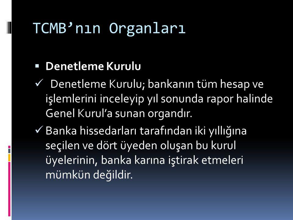 TCMB'nın Organları  Denetleme Kurulu  Denetleme Kurulu; bankanın tüm hesap ve işlemlerini inceleyip yıl sonunda rapor halinde Genel Kurul'a sunan or