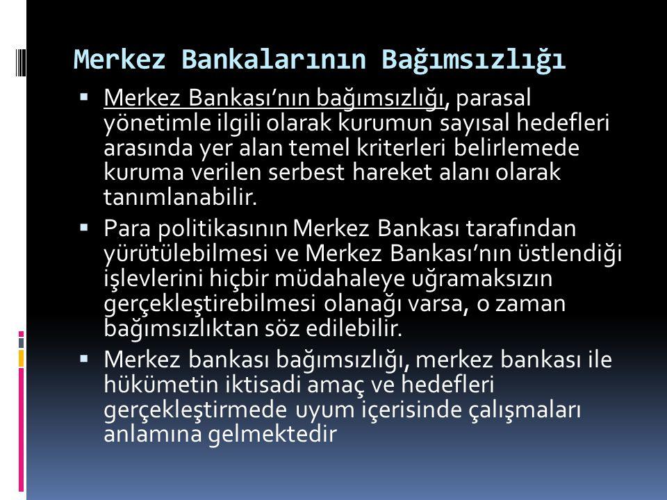 Merkez Bankalarının Bağımsızlığı  Merkez Bankası'nın bağımsızlığı, parasal yönetimle ilgili olarak kurumun sayısal hedefleri arasında yer alan temel