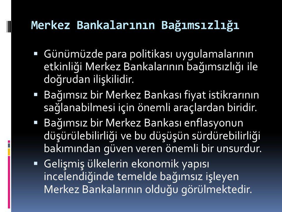 Merkez Bankalarının Bağımsızlığı  Günümüzde para politikası uygulamalarının etkinliği Merkez Bankalarının bağımsızlığı ile doğrudan ilişkilidir.  Ba