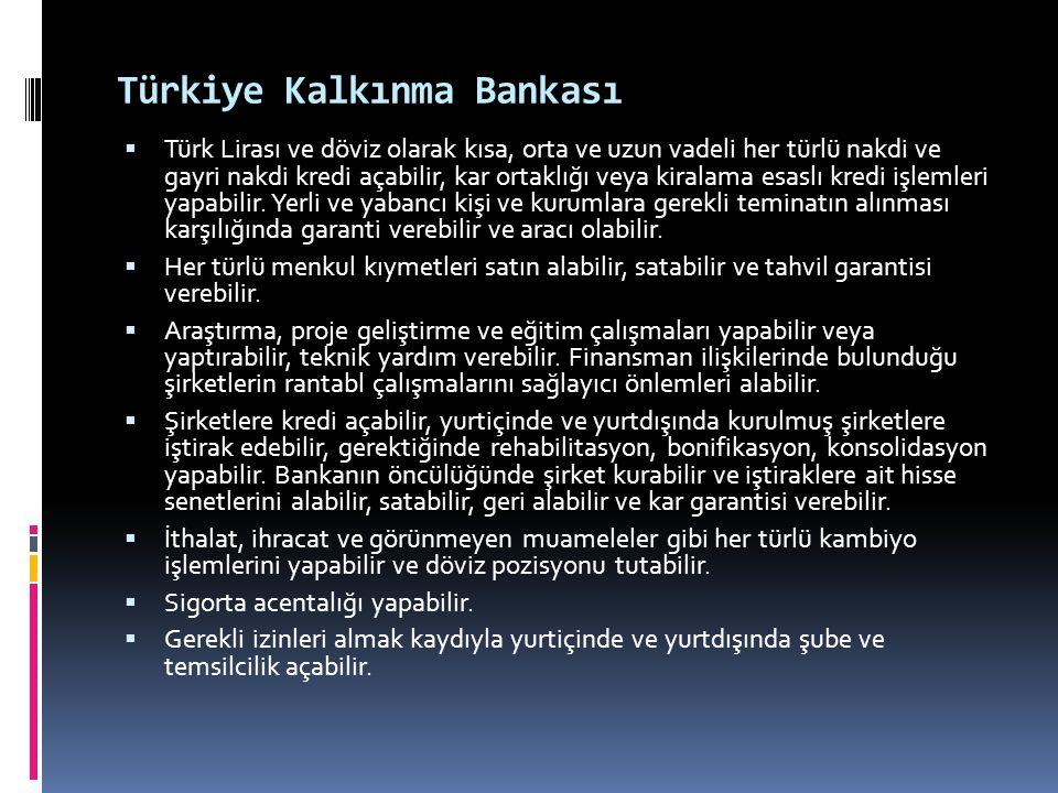 Türkiye Kalkınma Bankası  Türk Lirası ve döviz olarak kısa, orta ve uzun vadeli her türlü nakdi ve gayri nakdi kredi açabilir, kar ortaklığı veya kir