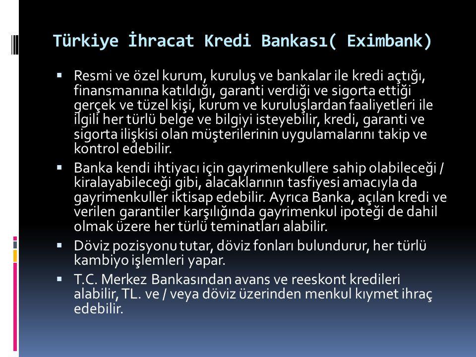 Türkiye İhracat Kredi Bankası( Eximbank)  Resmi ve özel kurum, kuruluş ve bankalar ile kredi açtığı, finansmanına katıldığı, garanti verdiği ve sigor