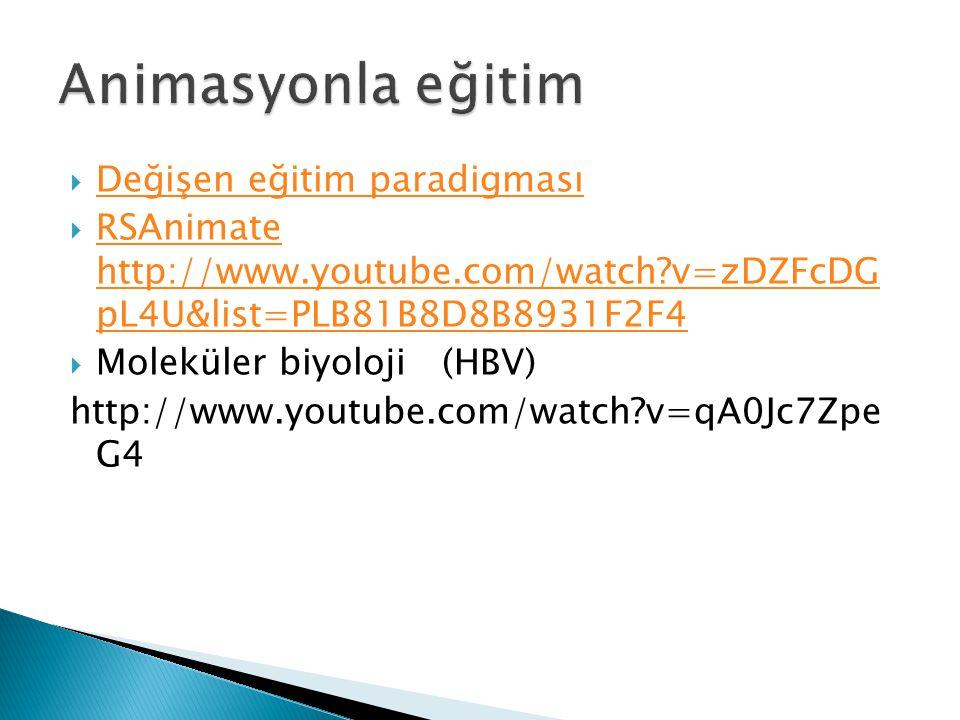  Değişen eğitim paradigması Değişen eğitim paradigması  RSAnimate http://www.youtube.com/watch?v=zDZFcDG pL4U&list=PLB81B8D8B8931F2F4 RSAnimate http