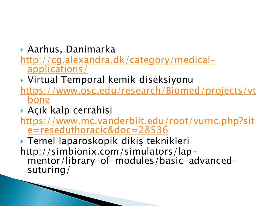  Aarhus, Danimarka http://cg.alexandra.dk/category/medical- applications/  Virtual Temporal kemik diseksiyonu https://www.osc.edu/research/Biomed/pr