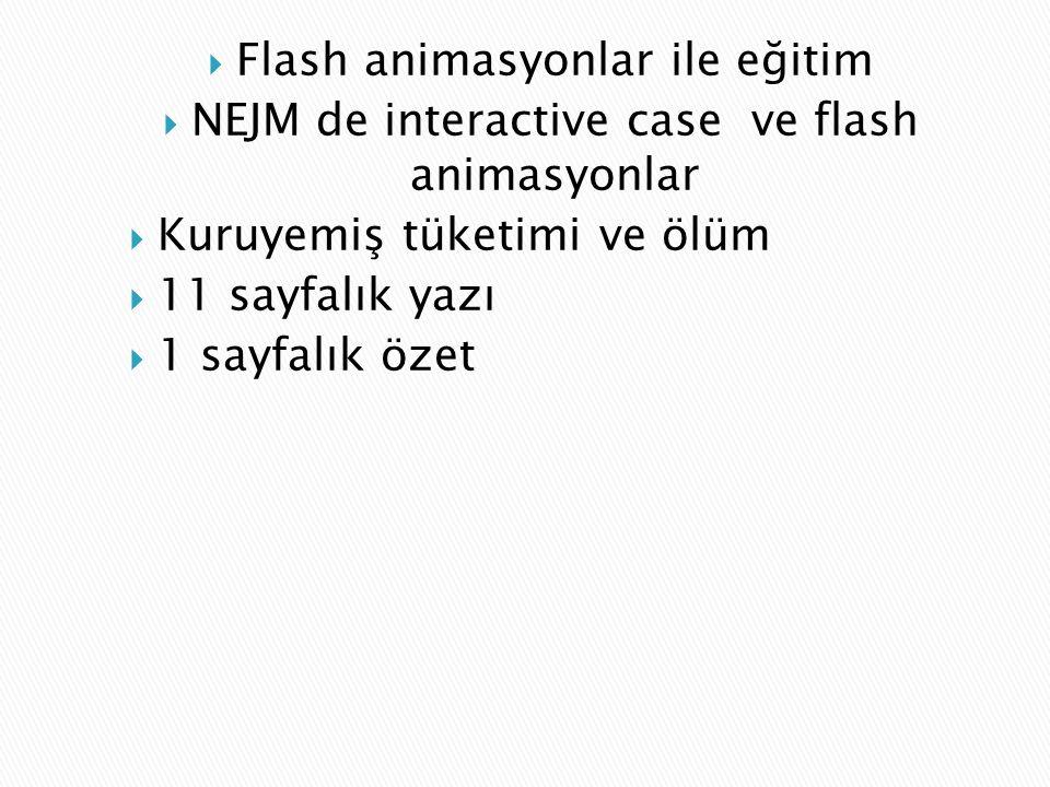  Flash animasyonlar ile eğitim  NEJM de interactive case ve flash animasyonlar  Kuruyemiş tüketimi ve ölüm  11 sayfalık yazı  1 sayfalık özet