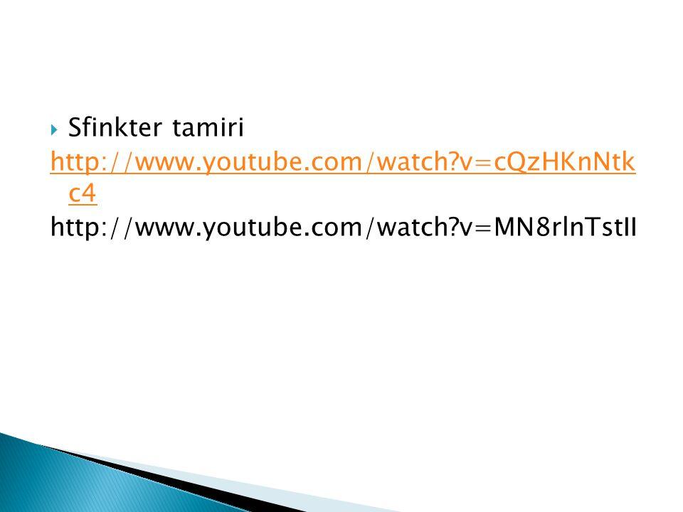  Sfinkter tamiri http://www.youtube.com/watch?v=cQzHKnNtk c4 http://www.youtube.com/watch?v=MN8rlnTstII