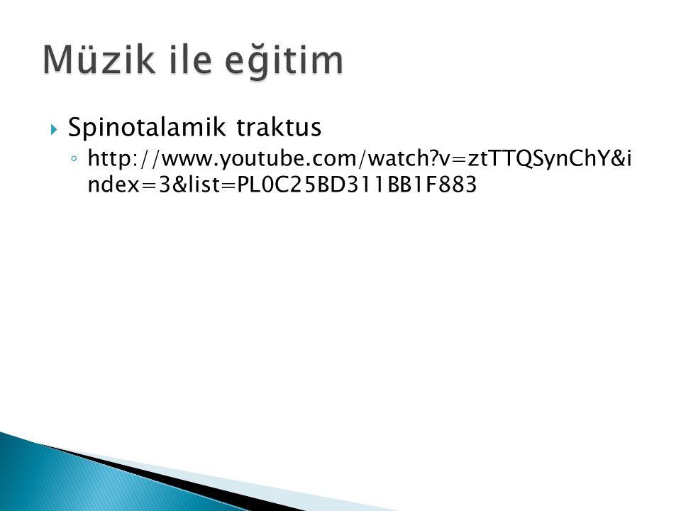  Spinotalamik traktus ◦ http://www.youtube.com/watch?v=ztTTQSynChY&i ndex=3&list=PL0C25BD311BB1F883