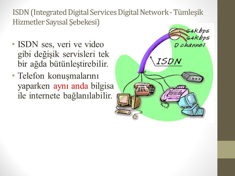 ISDN (Integrated Digital Services Digital Network - Tümleşik Hizmetler Sayısal Şebekesi) • ISDN ses, veri ve video gibi değişik servisleri tek bir ağd