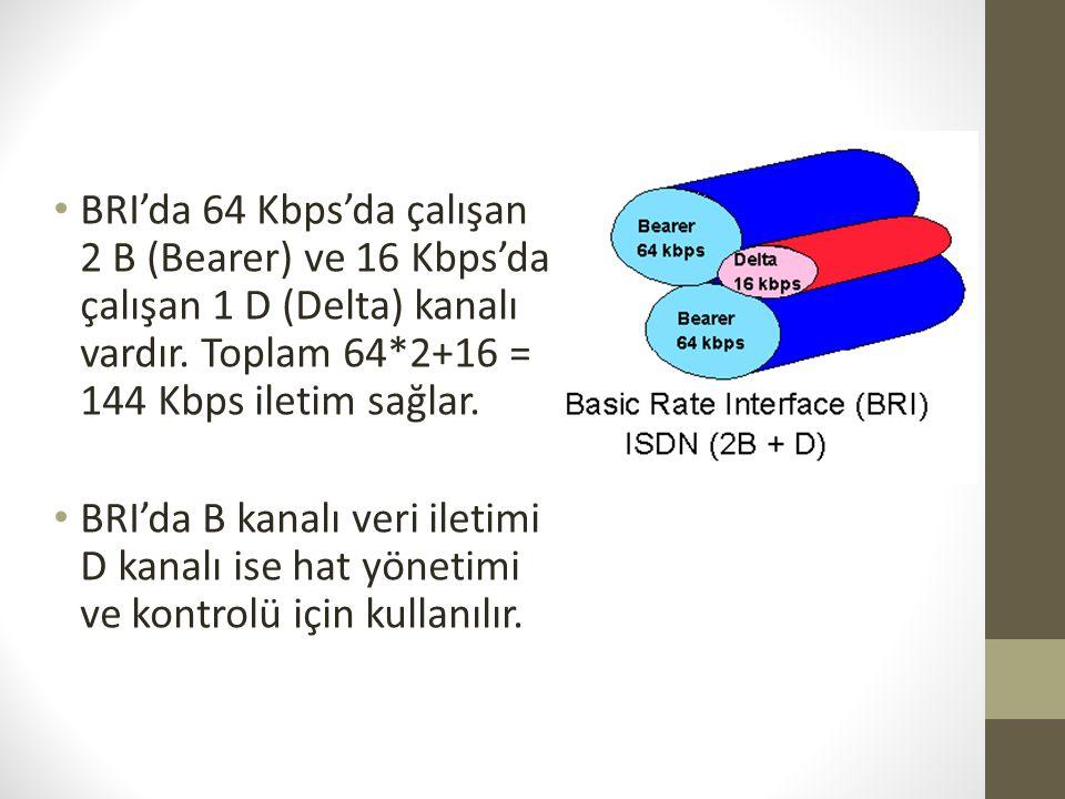 • BRI'da 64 Kbps'da çalışan 2 B (Bearer) ve 16 Kbps'da çalışan 1 D (Delta) kanalı vardır. Toplam 64*2+16 = 144 Kbps iletim sağlar. • BRI'da B kanalı v