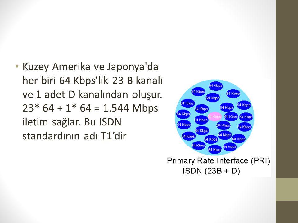 • Kuzey Amerika ve Japonya'da her biri 64 Kbps'lık 23 B kanalı ve 1 adet D kanalından oluşur. 23* 64 + 1* 64 = 1.544 Mbps iletim sağlar. Bu ISDN stand