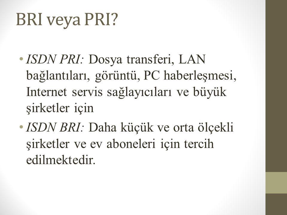 BRI veya PRI? • ISDN PRI: Dosya transferi, LAN bağlantıları, görüntü, PC haberleşmesi, Internet servis sağlayıcıları ve büyük şirketler için • ISDN BR