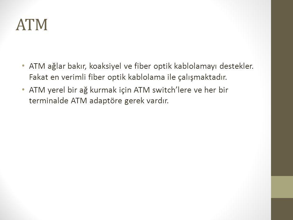 ATM • ATM ağlar bakır, koaksiyel ve fiber optik kablolamayı destekler. Fakat en verimli fiber optik kablolama ile çalışmaktadır. • ATM yerel bir ağ ku