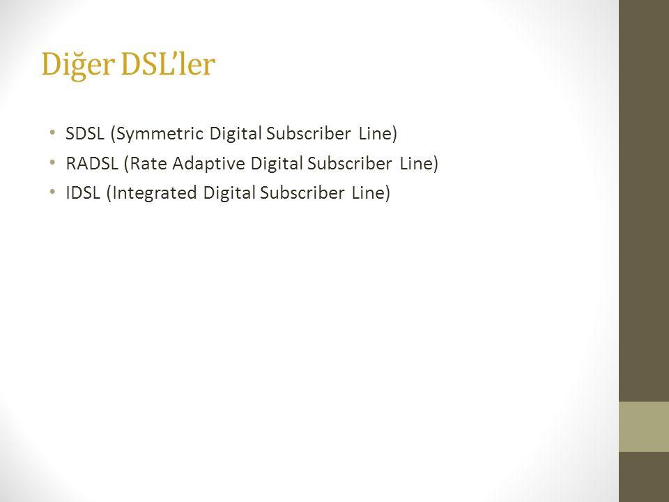 Diğer DSL'ler • SDSL (Symmetric Digital Subscriber Line) • RADSL (Rate Adaptive Digital Subscriber Line) • IDSL (Integrated Digital Subscriber Line)