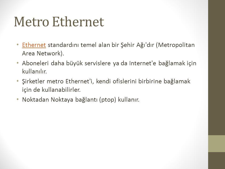 Metro Ethernet • Ethernet standardını temel alan bir Şehir Ağı'dır (Metropolitan Area Network). Ethernet • Aboneleri daha büyük servislere ya da Inter