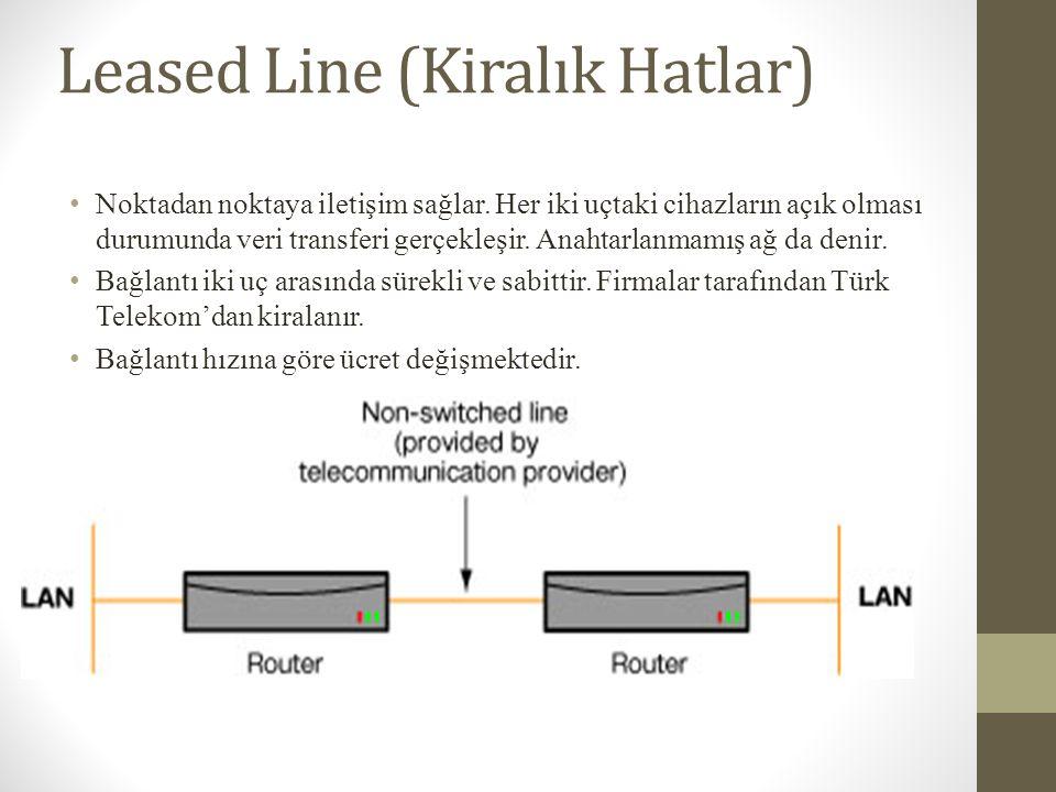Leased Line (Kiralık Hatlar) • Noktadan noktaya iletişim sağlar. Her iki uçtaki cihazların açık olması durumunda veri transferi gerçekleşir. Anahtarla