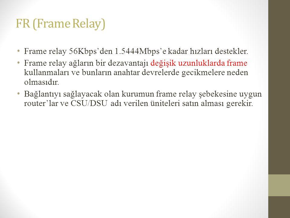FR (Frame Relay) • Frame relay 56Kbps'den 1.5444Mbps'e kadar hızları destekler. • Frame relay ağların bir dezavantajı değişik uzunluklarda frame kulla