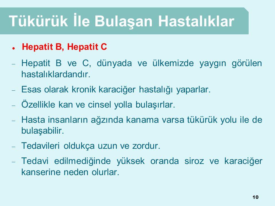 10 Tükürük İle Bulaşan Hastalıklar  Hepatit B, Hepatit C  Hepatit B ve C, dünyada ve ülkemizde yaygın görülen hastalıklardandır.  Esas olarak kroni