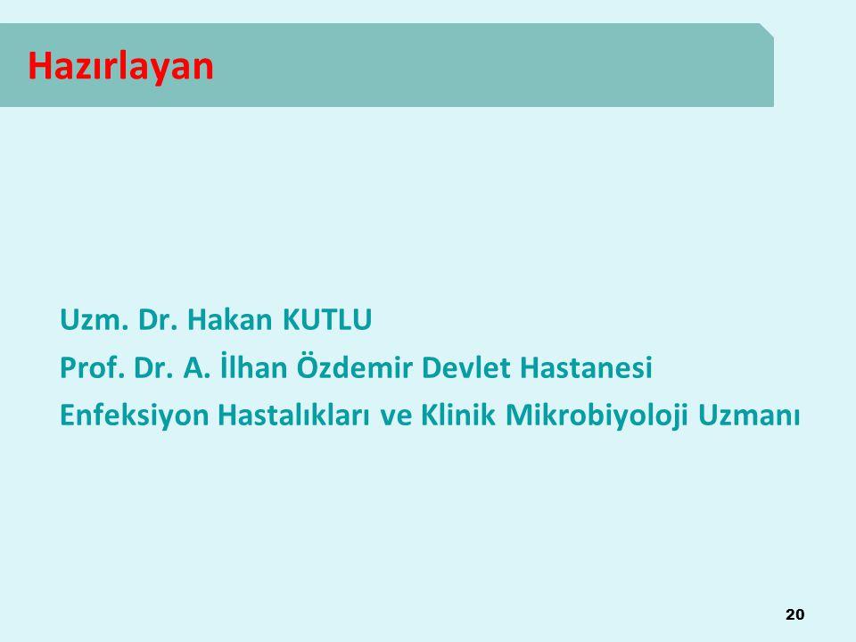 Hazırlayan 20 Uzm. Dr. Hakan KUTLU Prof. Dr. A. İlhan Özdemir Devlet Hastanesi Enfeksiyon Hastalıkları ve Klinik Mikrobiyoloji Uzmanı