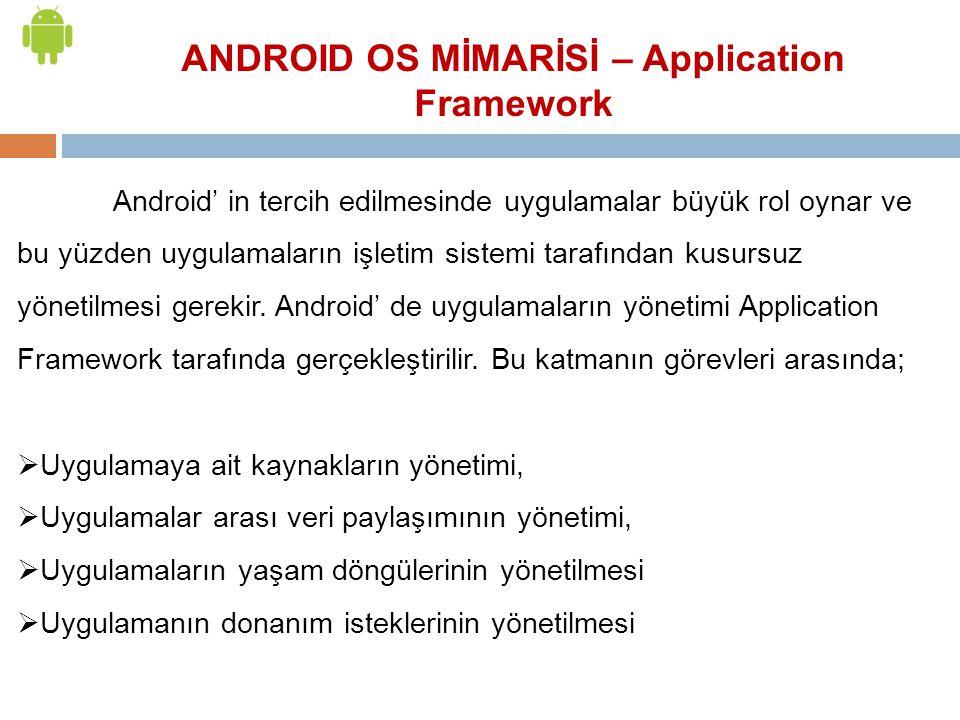 Android' in tercih edilmesinde uygulamalar büyük rol oynar ve bu yüzden uygulamaların işletim sistemi tarafından kusursuz yönetilmesi gerekir. Android
