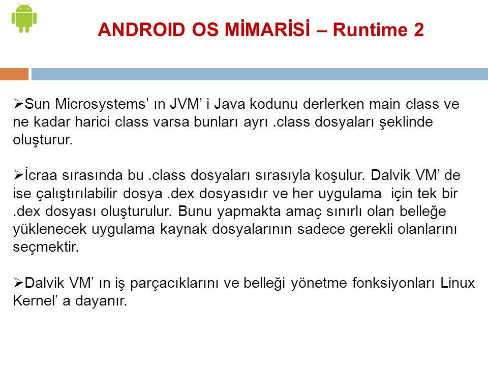  Sun Microsystems' ın JVM' i Java kodunu derlerken main class ve ne kadar harici class varsa bunları ayrı.class dosyaları şeklinde oluşturur.  İcraa