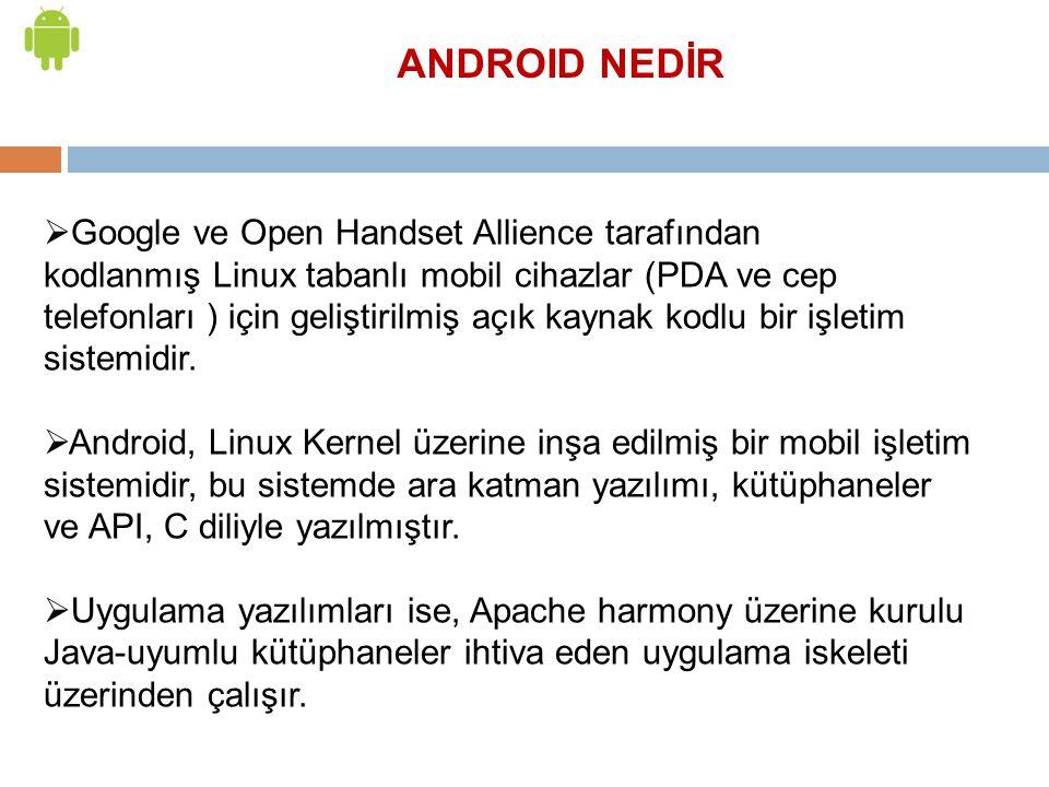 ANDROID NEDİR  Google ve Open Handset Allience tarafından kodlanmış Linux tabanlı mobil cihazlar (PDA ve cep telefonları ) için geliştirilmiş açık ka