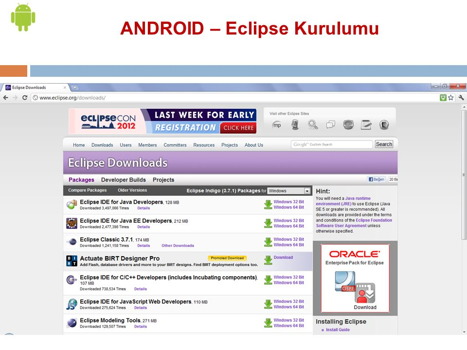 ANDROID – Eclipse Kurulumu