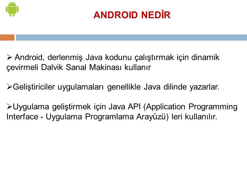  Android, derlenmiş Java kodunu çalıştırmak için dinamik çevirmeli Dalvik Sanal Makinası kullanır  Geliştiriciler uygulamaları genellikle Java dilin