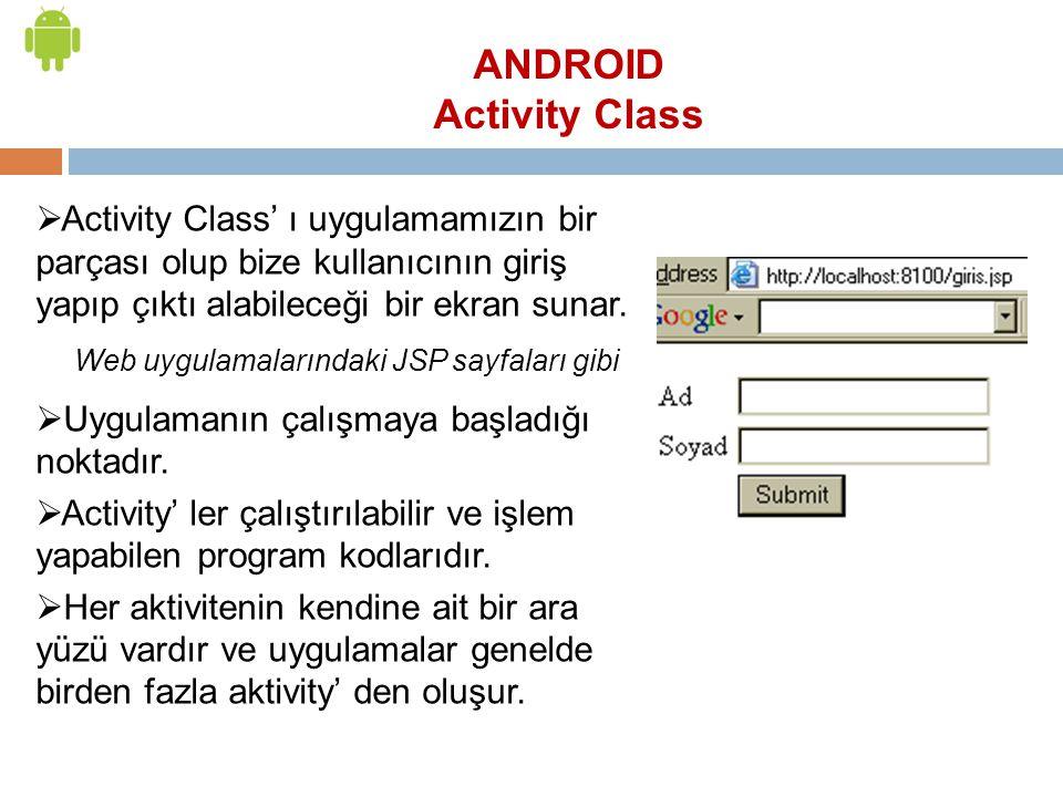ANDROID Activity Class  Activity Class' ı uygulamamızın bir parçası olup bize kullanıcının giriş yapıp çıktı alabileceği bir ekran sunar. Web uygulam
