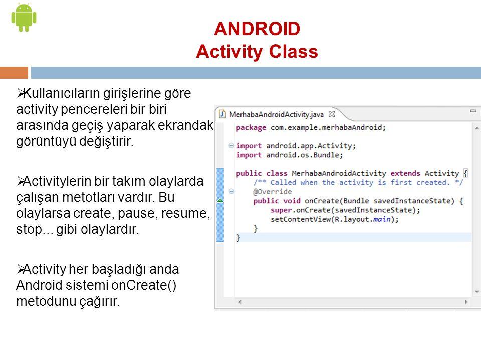  Kullanıcıların girişlerine göre activity pencereleri bir biri arasında geçiş yaparak ekrandaki görüntüyü değiştirir.  Activitylerin bir takım olayl