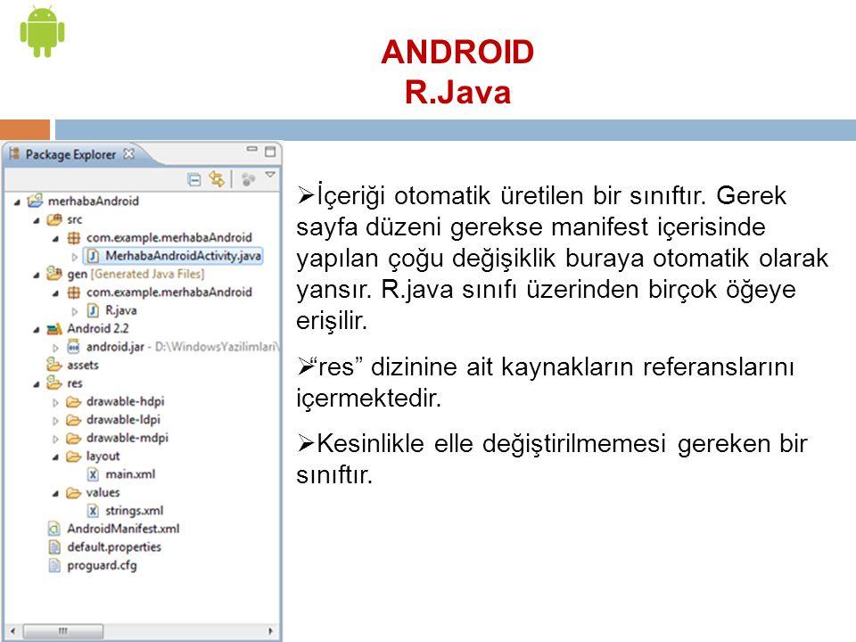 ANDROID R.Java  İçeriği otomatik üretilen bir sınıftır. Gerek sayfa düzeni gerekse manifest içerisinde yapılan çoğu değişiklik buraya otomatik olarak