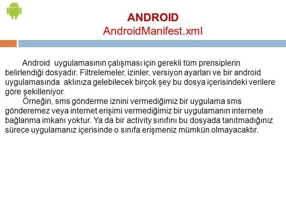 ANDROID AndroidManifest.xml Android uygulamasının çalışması için gerekli tüm prensiplerin belirlendiği dosyadır. Filtrelemeler, izinler, versiyon ayar