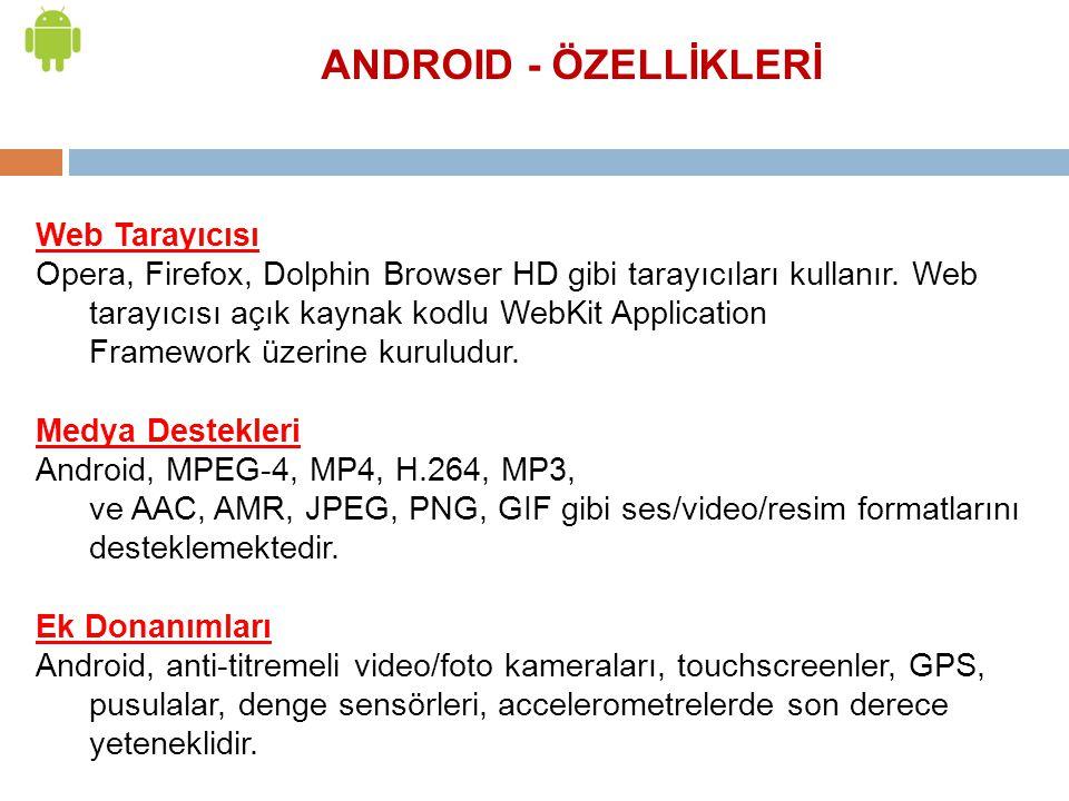 Web Tarayıcısı Opera, Firefox, Dolphin Browser HD gibi tarayıcıları kullanır. Web tarayıcısı açık kaynak kodlu WebKit Application Framework üzerine ku