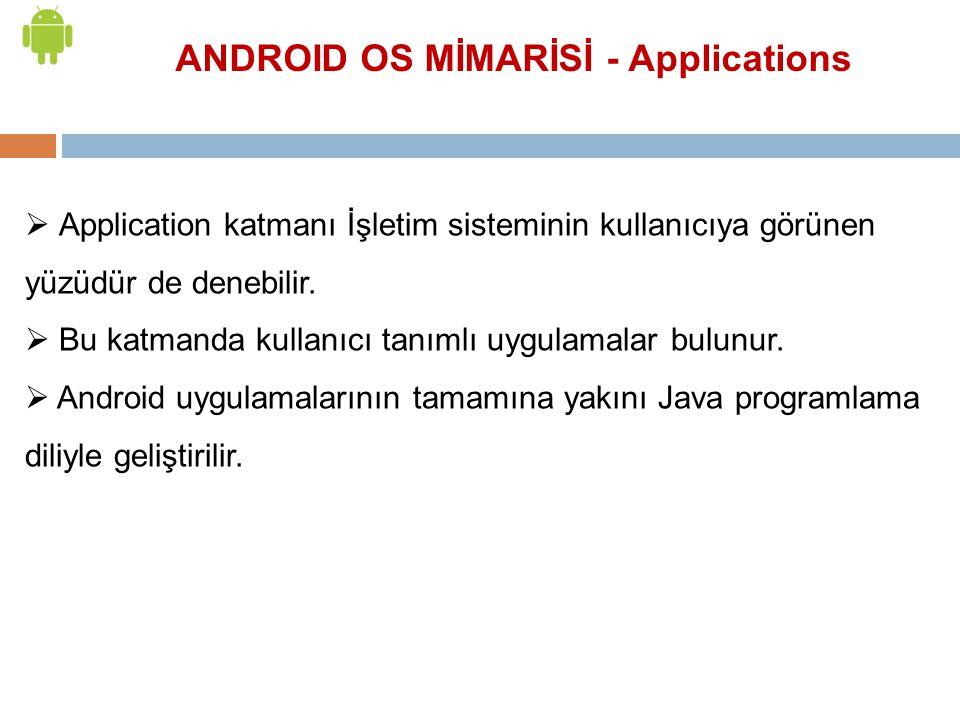 ANDROID OS MİMARİSİ - Applications  Application katmanı İşletim sisteminin kullanıcıya görünen yüzüdür de denebilir.  Bu katmanda kullanıcı tanımlı