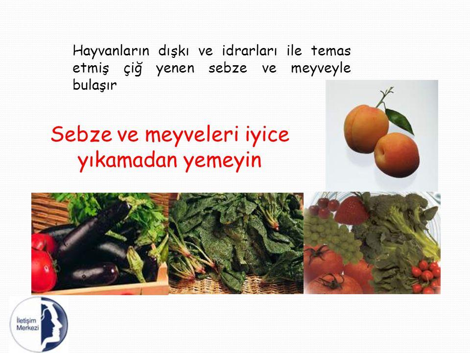 Hayvanların dışkı ve idrarları ile temas etmiş çiğ yenen sebze ve meyveyle bulaşır Sebze ve meyveleri iyice yıkamadan yemeyin