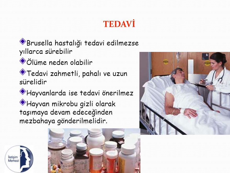 TEDAVİ Brusella hastalığı tedavi edilmezse yıllarca sürebilir Ölüme neden olabilir Tedavi zahmetli, pahalı ve uzun sürelidir Hayvanlarda ise tedavi ön
