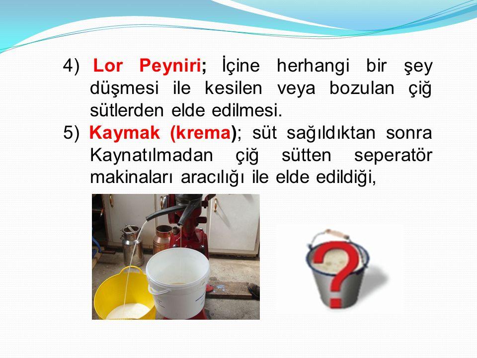4) Lor Peyniri; İçine herhangi bir şey düşmesi ile kesilen veya bozulan çiğ sütlerden elde edilmesi. 5) Kaymak (krema); süt sağıldıktan sonra Kaynatıl