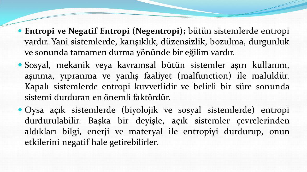  Entropi ve Negatif Entropi (Negentropi); bütün sistemlerde entropi vardır. Yani sistemlerde, karışıklık, düzensizlik, bozulma, durgunluk ve sonunda