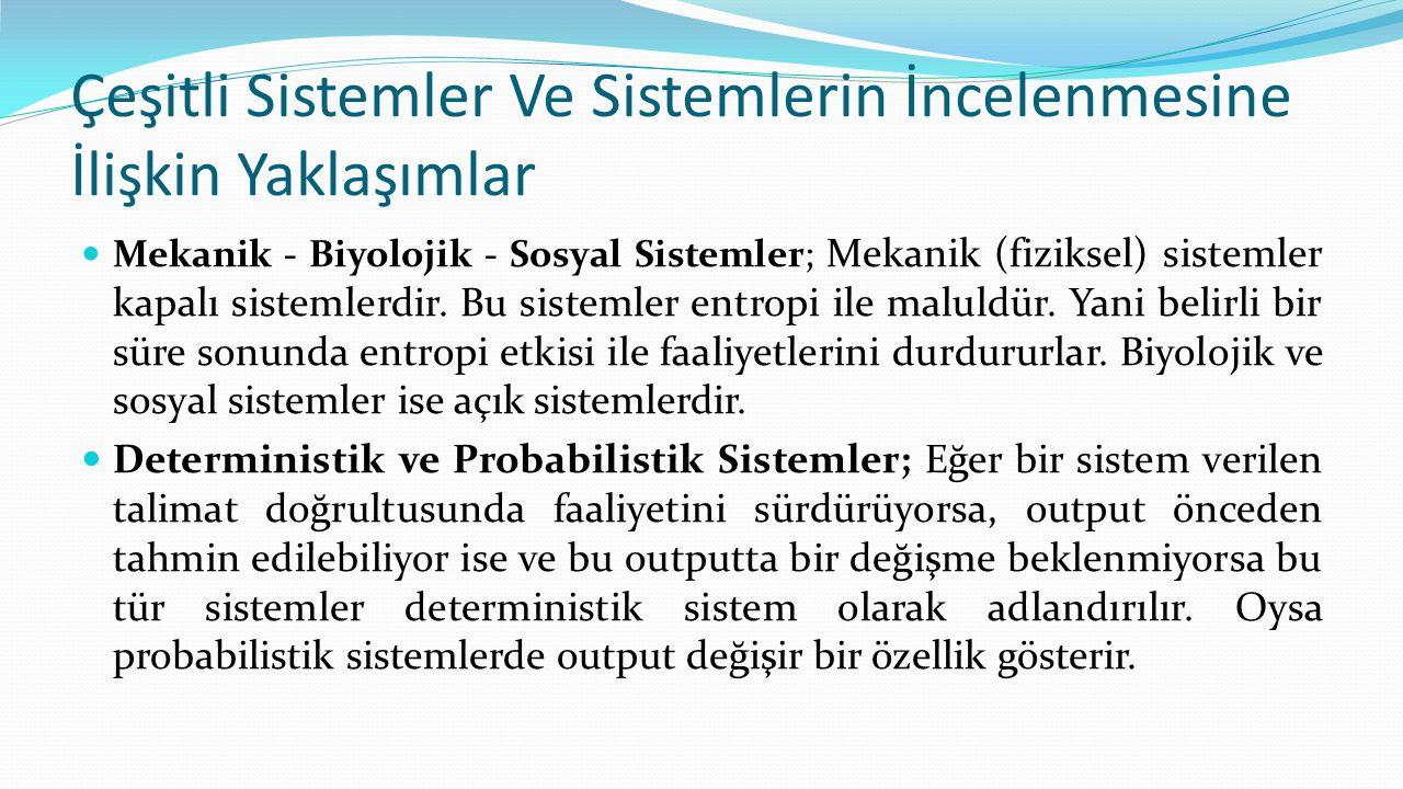 Çeşitli Sistemler Ve Sistemlerin İncelenmesine İlişkin Yaklaşımlar  Mekanik - Biyolojik - Sosyal Sistemler; Mekanik (fiziksel) sistemler kapalı siste