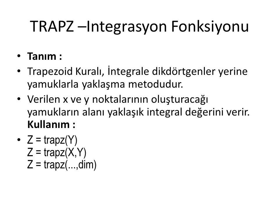 TRAPZ –Integrasyon Fonksiyonu • Tanım : • Trapezoid Kuralı, İntegrale dikdörtgenler yerine yamuklarla yaklaşma metodudur. • Verilen x ve y noktalarını