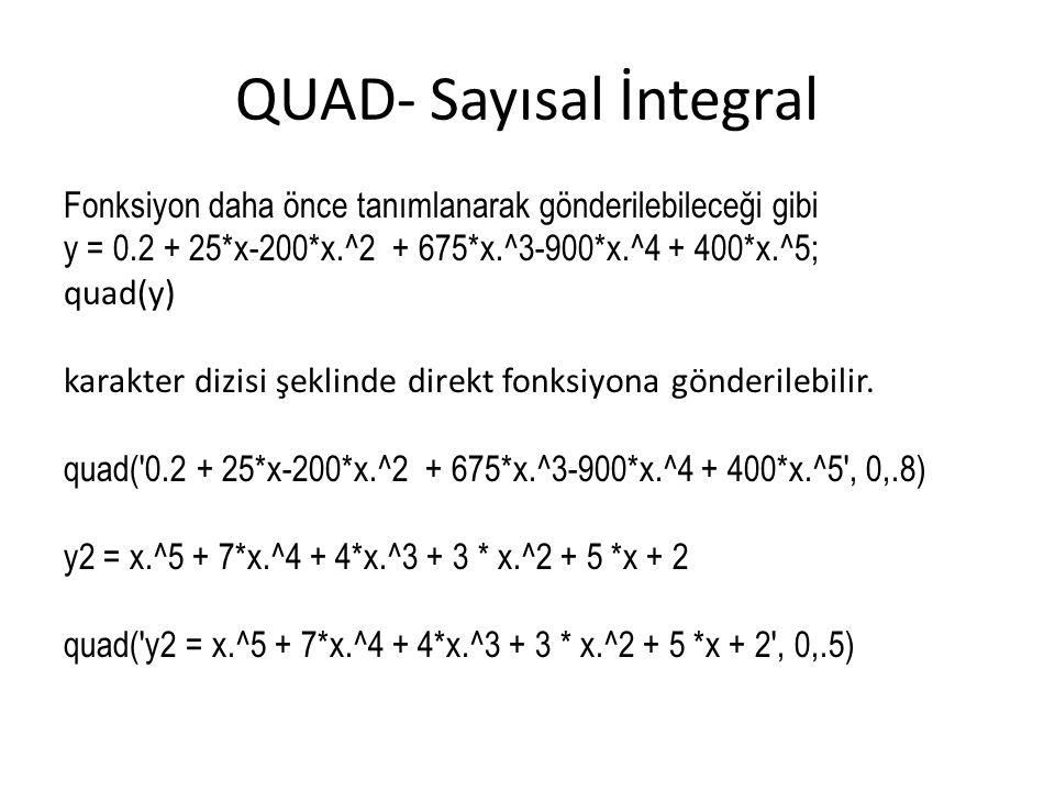 QUAD- Sayısal İntegral Fonksiyon daha önce tanımlanarak gönderilebileceği gibi y = 0.2 + 25*x-200*x.^2 + 675*x.^3-900*x.^4 + 400*x.^5; quad(y) karakte