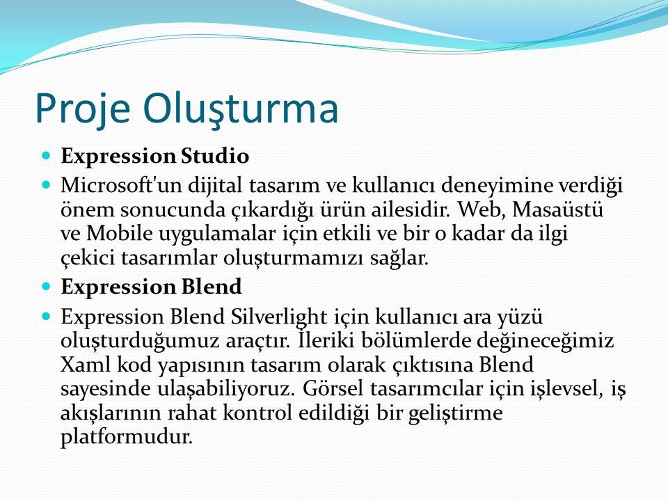 Proje Oluşturma  Expression Studio  Microsoft'un dijital tasarım ve kullanıcı deneyimine verdiği önem sonucunda çıkardığı ürün ailesidir. Web, Masaü